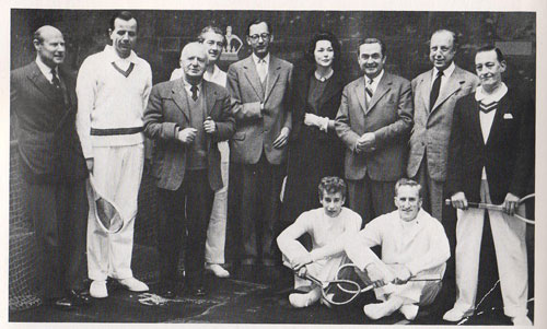 Reading from left to right : Dugald MacPherson, Jimmy Whatman, Edgar Baerlein, Lord Aberdare, Lord Egremont, Lady Egremont, Andy Dawson, Max Heilbut, and Emil Latham. Sitting are David Cull and Henry Johns.